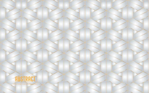 Abstract background hexagon grey and white color with golden line. modern minimal eps 10 Premium Vector
