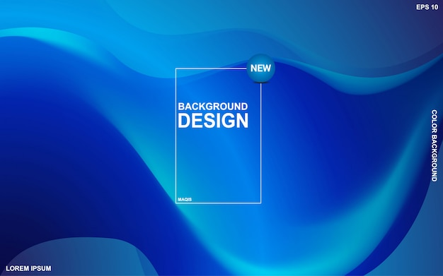 Abstract background liquid theme with blue ocean color. modern minimal eps 10 Premium Vector