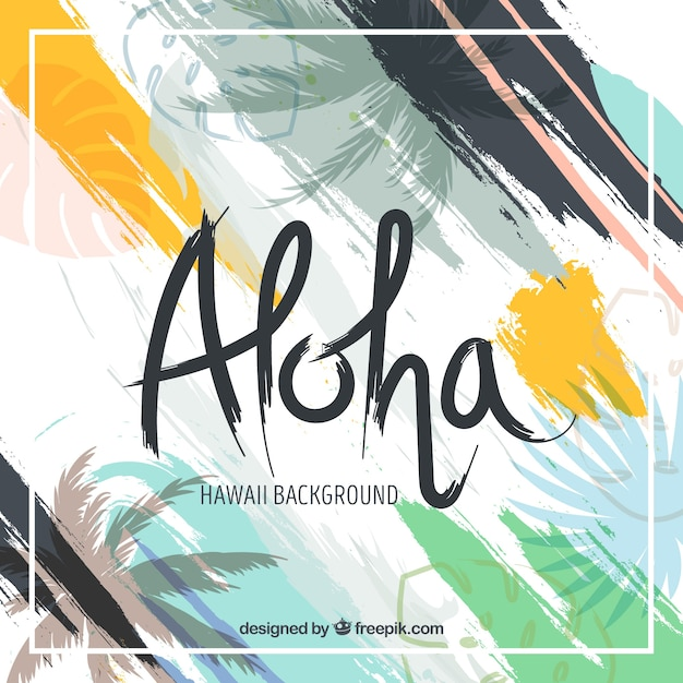 Abstract background of aloha with brush strokes Free Vector