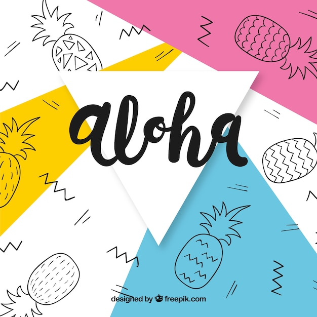 Abstract background of aloha with pineapple drawings Free Vector