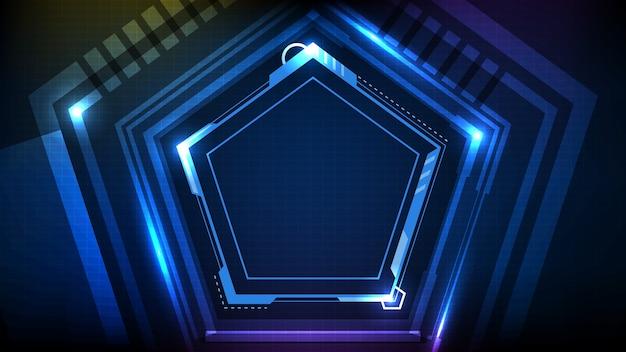 Абстрактный фон голубой светящейся шестиугольной звезды технологии научно-фантастической рамки hud ui Premium векторы