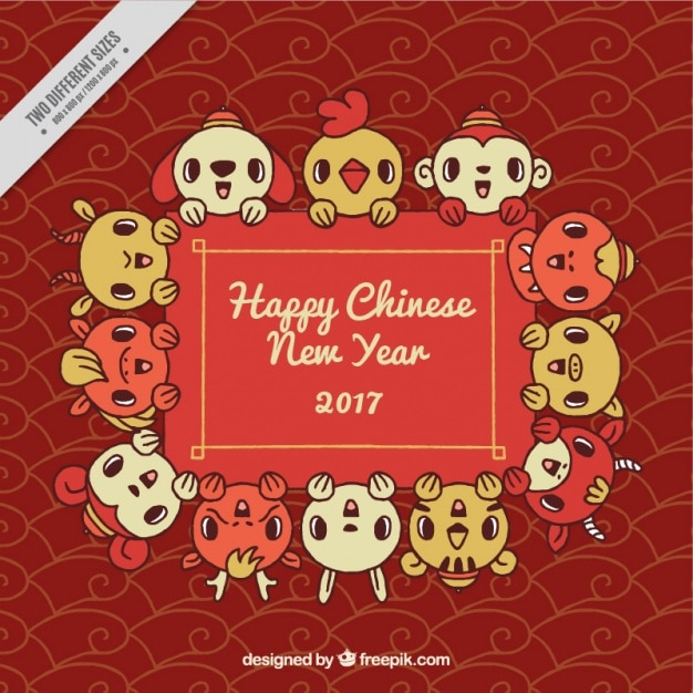 abstract background of chinese new year 2017 with lovely animals free vector