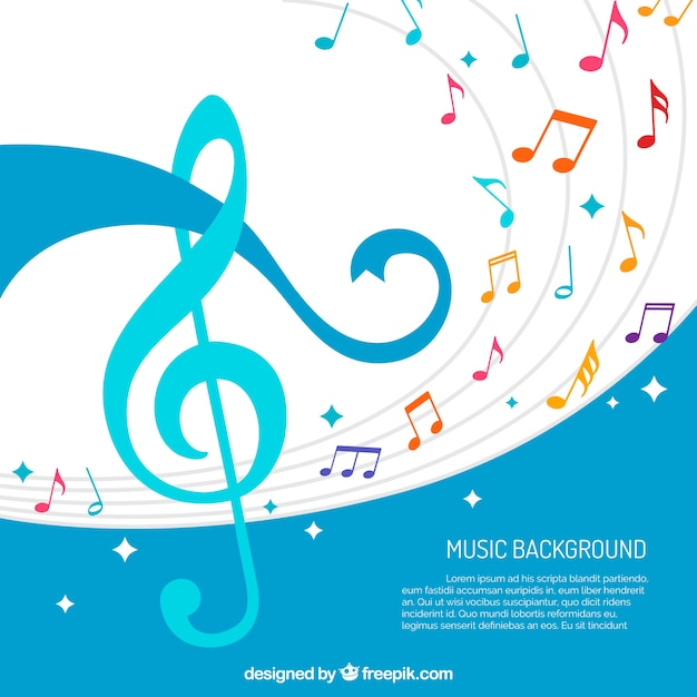 Abstract background of colorful musical\ notes