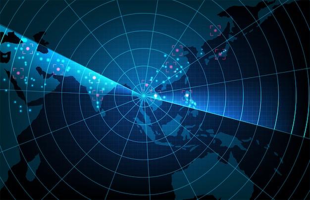 未来技術スキャンターゲットインターフェイスの抽象的な背景hudアジア太平洋地図、ハイテク画面の概念 Premiumベクター