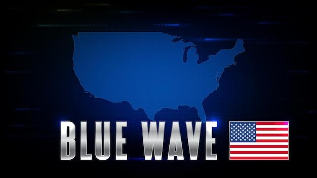 未来の技術の抽象的な背景米国旗の世界地図と米国大統領選挙ブルーウェーブ株式市場 Premiumベクター