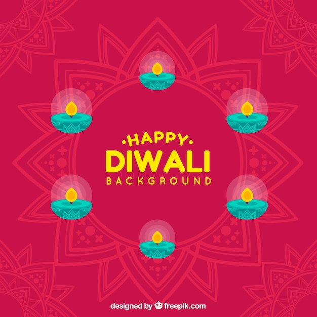 Abstract background of happy diwali with candles in flat design