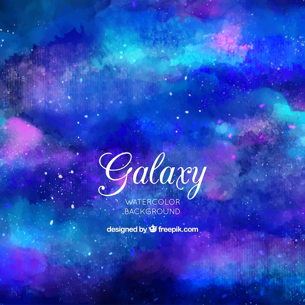 Abstract background of watercolor galaxy in blue color