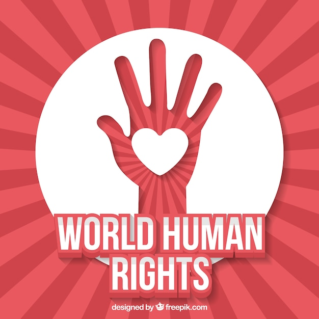 abstract background of world human rights day of hand with heart