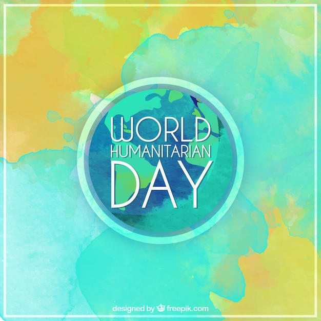 Abstract background of world humanitarian day in watercolor effect