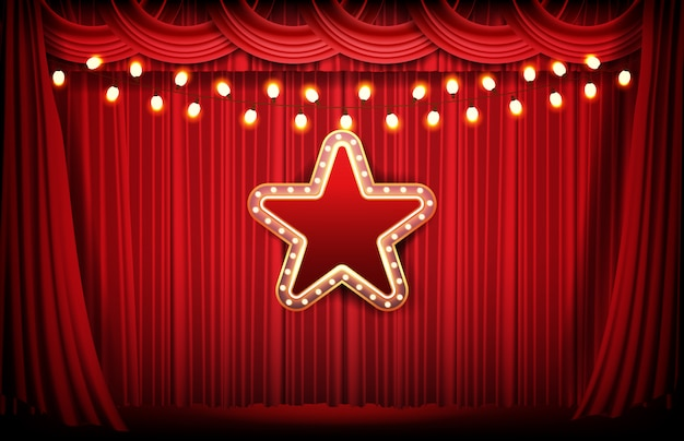 Abstract background of red curtain and bright neon star Premium Vector