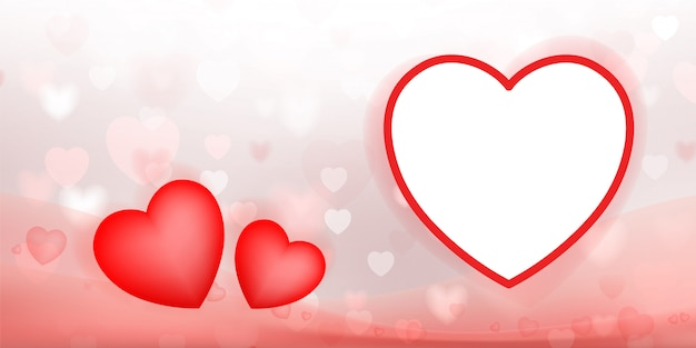 Abstract background of red heart with light blurred bokeh. Premium Vector