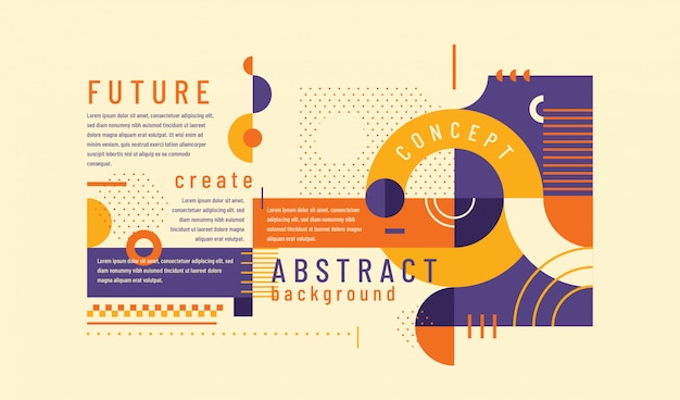 Abstract background in retro style with geometric shapes Premium Vector