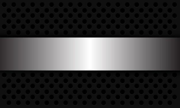 抽象的な背景の銀のバナーは、ダークグレーの円のメッシュパターンの現代の未来的なイラストに重なっています。 Premiumベクター