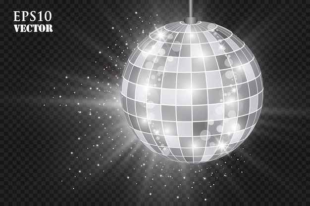 Abstract background silver disco ball. Premium Vector