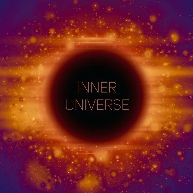 Sfondo astratto di strano buco nero nello spazio. stelle splendenti che cadono nell'oscurità. Vettore gratuito