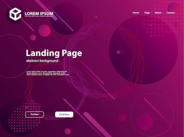 Abstract background template for landing page Premium Vector