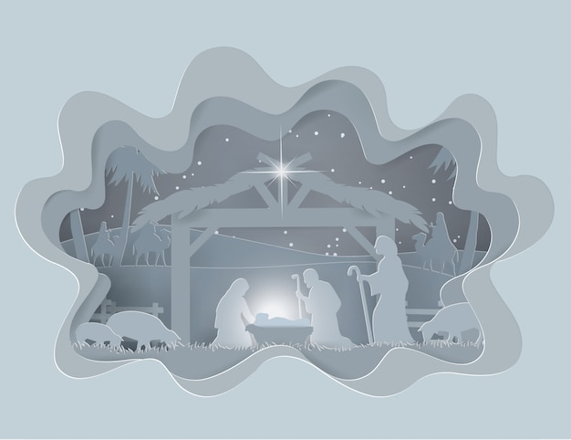 Abstract background traditional christmas nativity scene of baby jesus in winter season Premium Vector