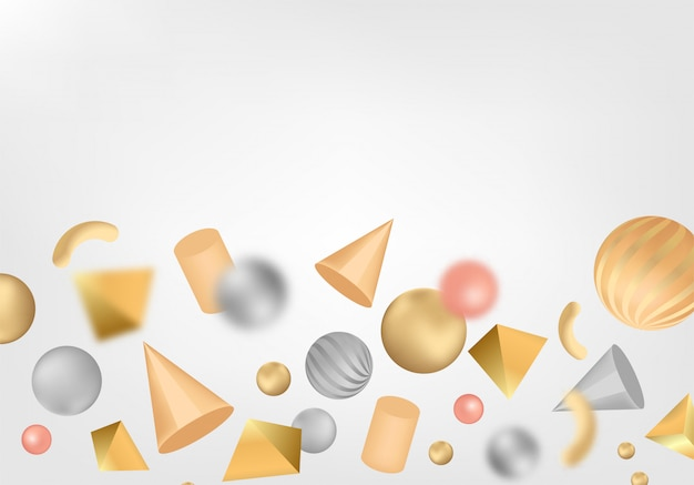 Abstract background with 3d shapes. Premium Vector