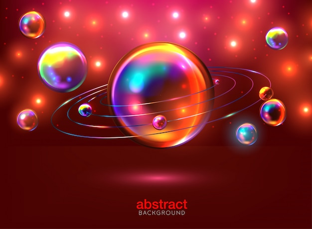 Abstract background with 3d spheres cluster Premium Vector