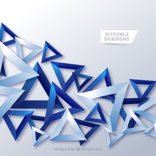 Abstract background with 3d triangles Free Vector