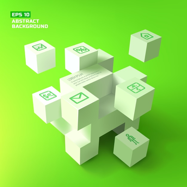 Abstract background with 3d white cubes Free Vector