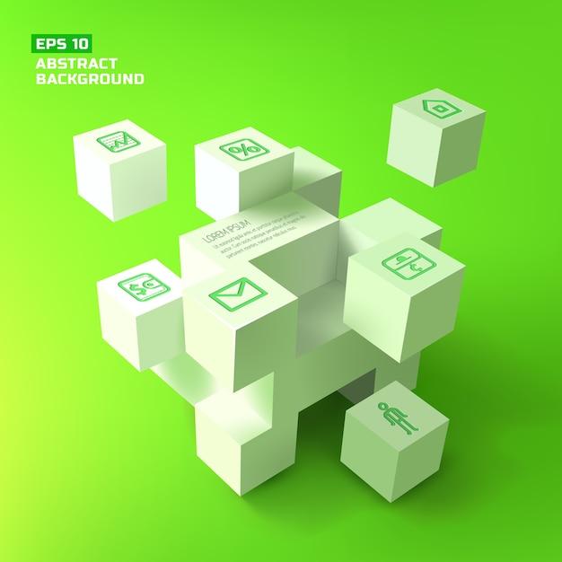Sfondo astratto con cubi bianchi 3d Vettore gratuito