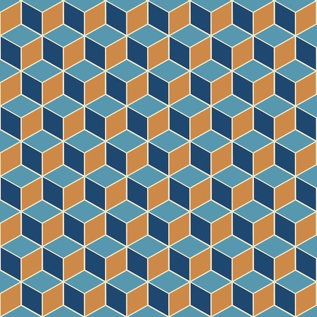 Абстрактный фон с изометрическим кубом бесшовные модели дизайна Бесплатные векторы