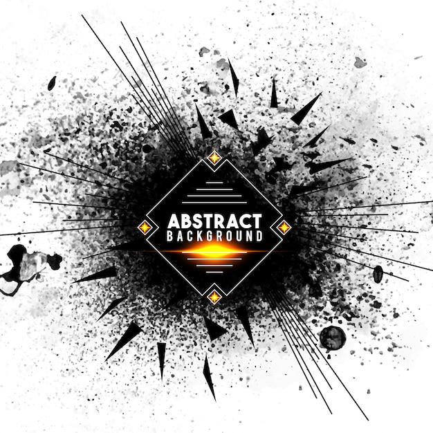 Abstract background with black splash and radial lines, creative burst or explosion effect. Free Vector