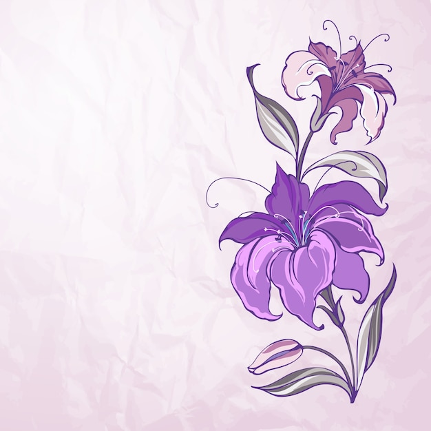 Abstract background with blooming lilies Free Vector