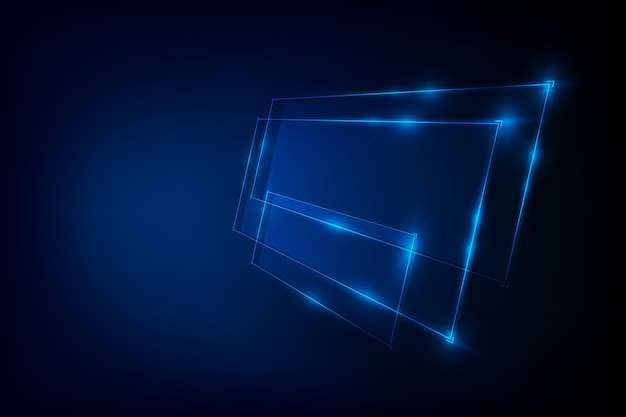 Abstract background with blue neon banner Premium Vector