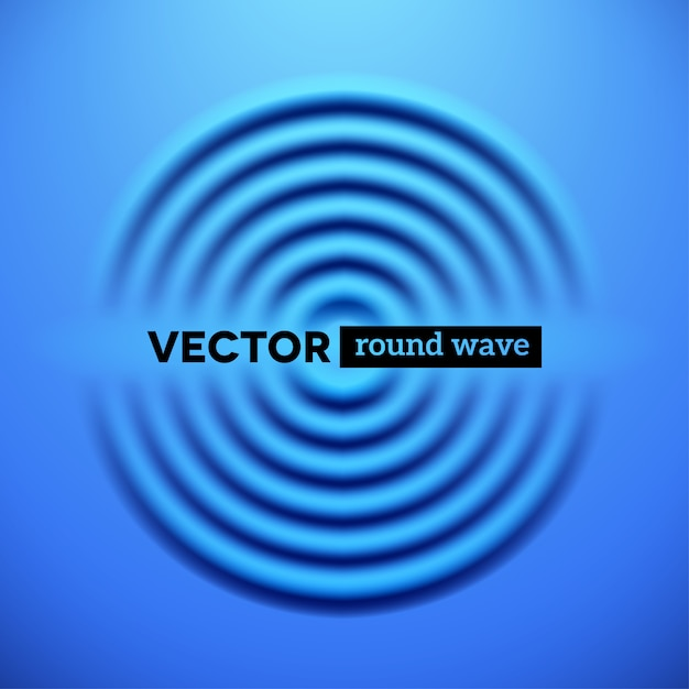 Abstract background with blue ripple waves Premium Vector