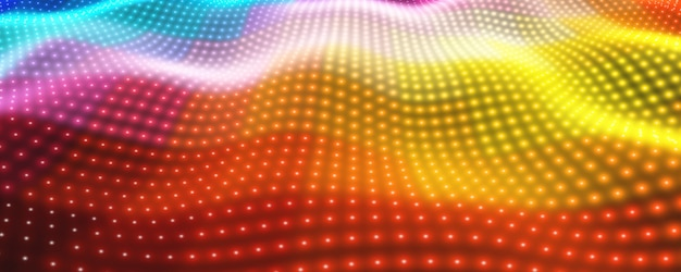 Abstract background with colorful neon lights forming wavy surface Free Vector