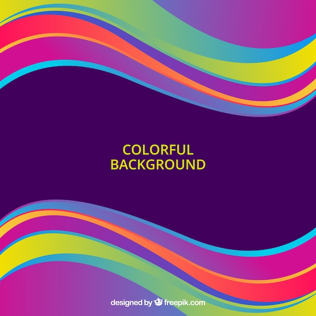 Abstract background with colorful waves Free Vector