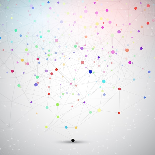 Abstract background with connecting dots and lines Free Vector