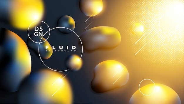 Abstract background with dark liquid and gold light effect Vector