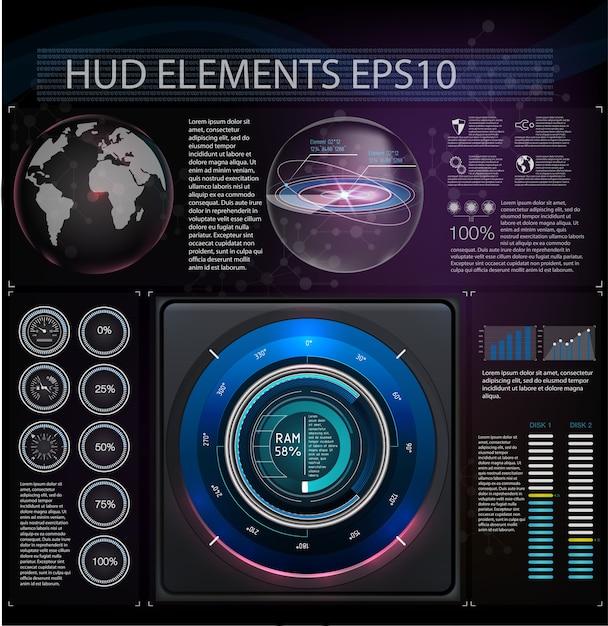 Hudのさまざまな要素と抽象的な背景。 Premiumベクター