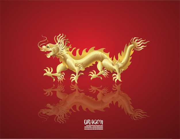 Abstract background with dragon golden  china zodiac symbols on red Premium Vector