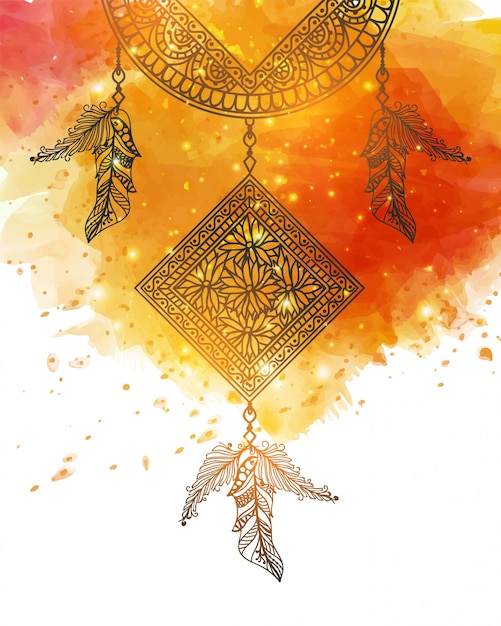 Abstract background with dreamcatcher Premium Vector