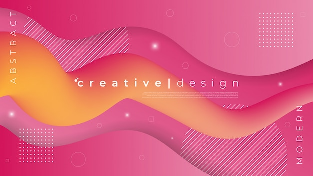 Abstract background with fluid liquid and wave paper cut element Premium Vector