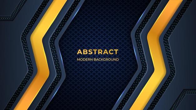 Абстрактный фон с геометрическими формами, схемами и огнями золотого и темного цвета. Premium векторы