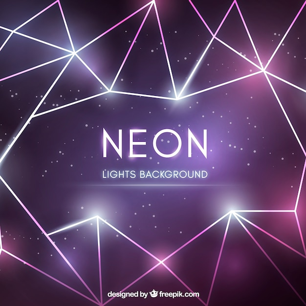 Abstract background with geometric neon lights Free Vector
