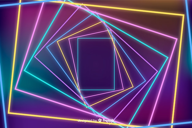 Abstract background with geometric neon shapes Free Vector