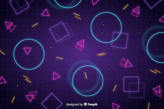 Abstract background with geometric neon shapes Premium Vector