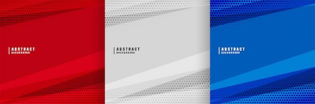 Абстрактный фон с дизайном геометрических фигур в трех цветах Бесплатные векторы