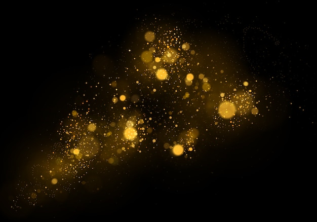 Abstract background with gold bokeh effect. dust particles. Premium Vector