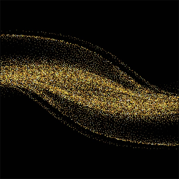 Abstract background with golden glitters stylish wave on black background Free Vector