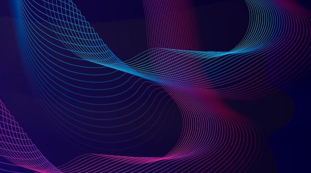 Абстрактный фон с градиентными волнистыми линиями Бесплатные векторы