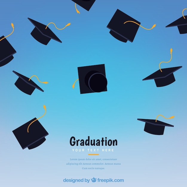 abstract background with graduation caps vector free