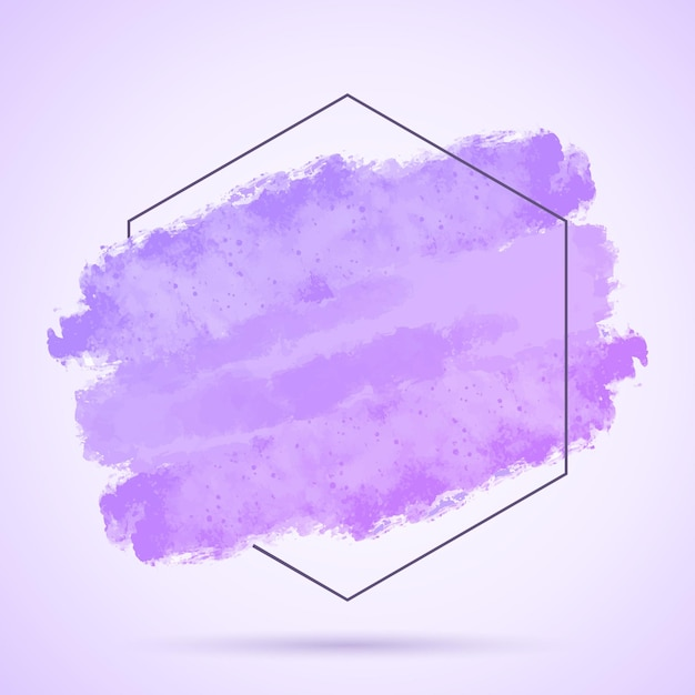 Abstract background with hand painted grunge stroke and hexagonal frame Free Vector