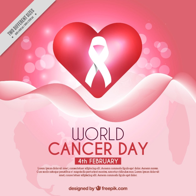 Abstract background with heart and ribbon for world cancer day